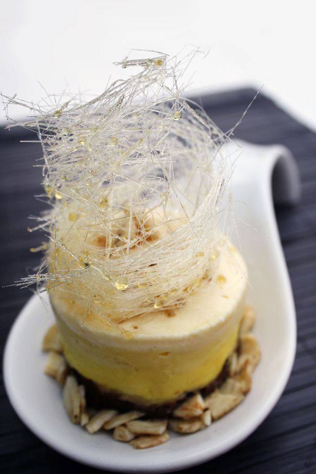 Banana Mouse with a Chocolate Cake Bottom and a Layer of Sliced Bananas in Between Garnished with Banana Chips Around the Bottom and on Top, and Topped with a Spun
